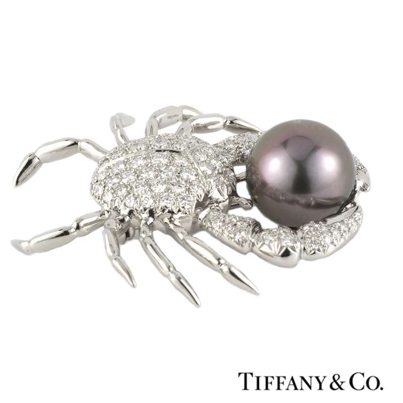 Tiffany & Co. Diamond & Pearl Crab Brooch in Platinum